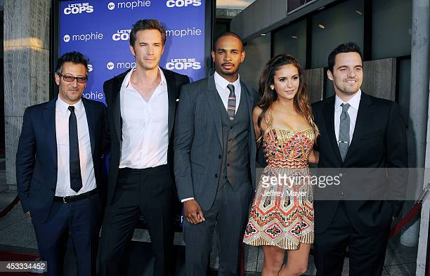Director Luke Greenfield actors James D'Arcy Damon Wayans Jr Nina Dobrev and Jake Johnson attend the 'Let's Be Cops' Los Angeles Premiere held at the...