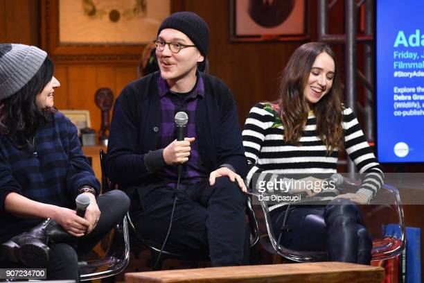 Director Lynne Ramsay actor Paul Dano and actress Zoe Kazan speak onstage at the Panel Adaptation during the 2018 Sundance Film Festival at Filmmaker...