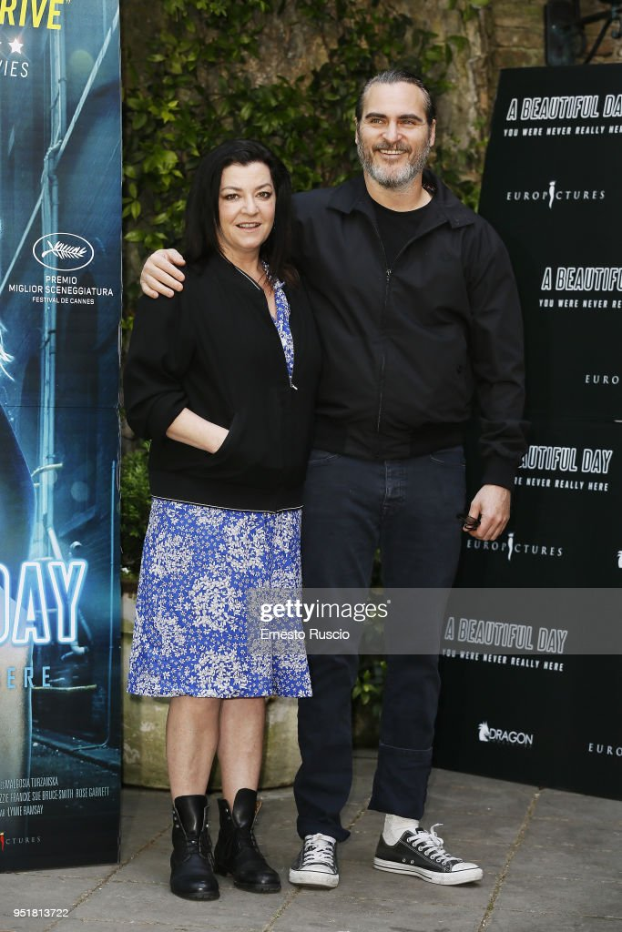 Director Lynne Ramsay and actor Joaquin Phoenix attend 'A Beautiful Day' photocall at Hotel De Russie on April 27, 2018 in Rome, Italy.