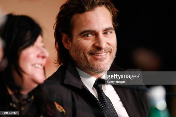 Director Lynne Ramsay and actor Joaquin Phoenix attend the 'You Were Never Really Here' press conference during the 70th annual Cannes Film Festival...