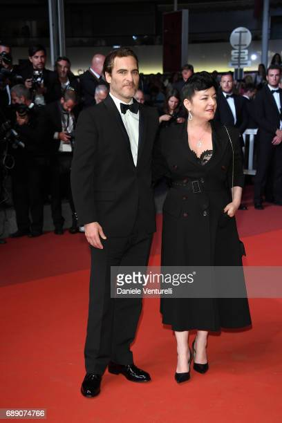 Director Lynne Ramsay and Joaquin Phoenix attend the 'You Were Never Really Here' screening during the 70th annual Cannes Film Festival at Palais des...
