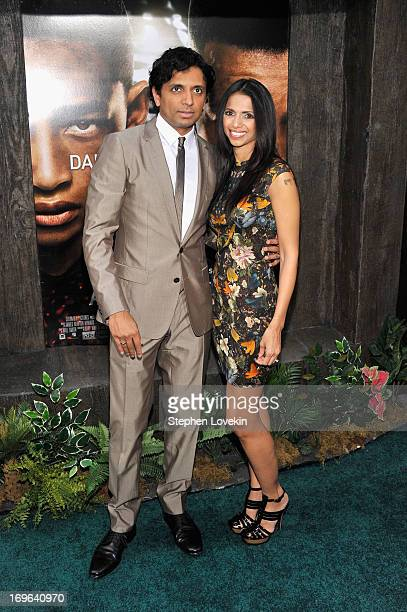 Director M Night Shyamalan and Bhavna Vaswani attend the After Earth premiere at the Ziegfeld Theater on May 29 2013 in New York City