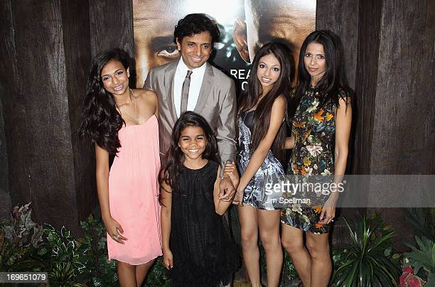 Director M Night Shyamalan and family attend the 'After Earth' premiere at the Ziegfeld Theater on May 29 2013 in New York City