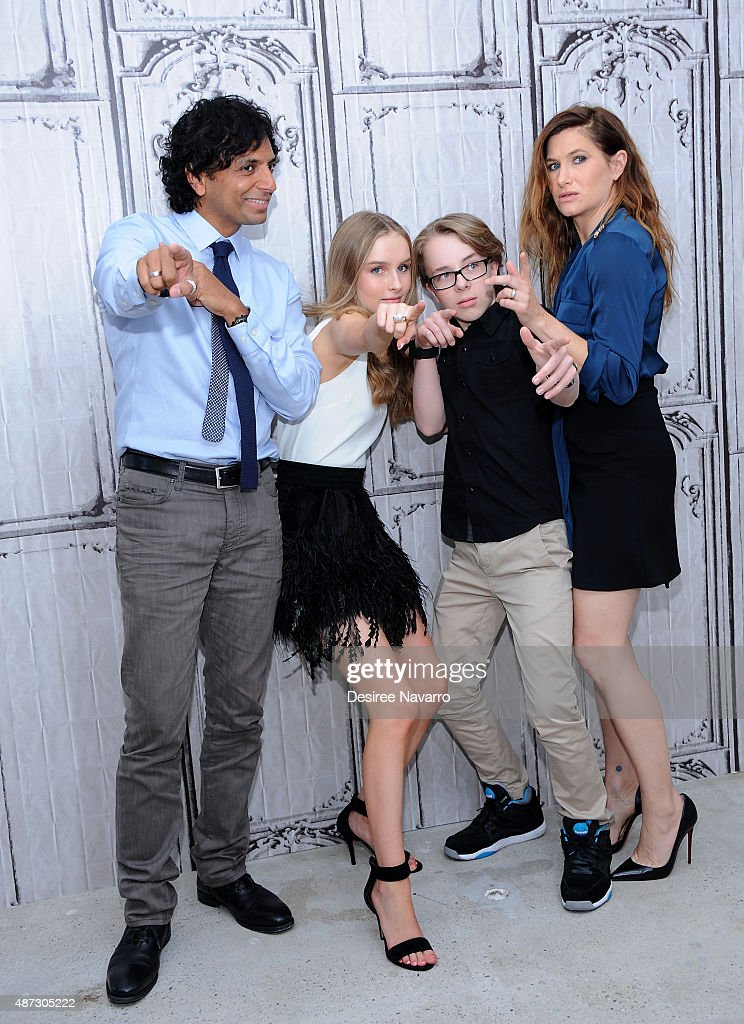 Director M. Night Shyamalan, Olivia DeJonge, Ed Oxenbould and Kathryn Hahn attend AOL BUILD Speaker Series: 'The Visit' at AOL Studios In New York on September 8, 2015 in New York City.
