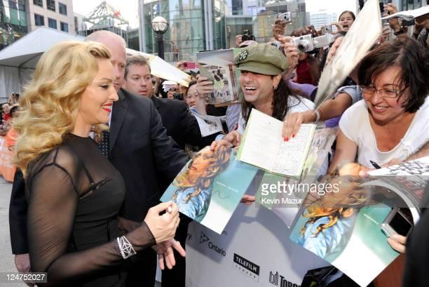 Director Madonna arrives at 'WE' Premire at TIFF Bell Lightbox during the 2011 Toronto International Film Festival on September 12 2011 in Toronto...