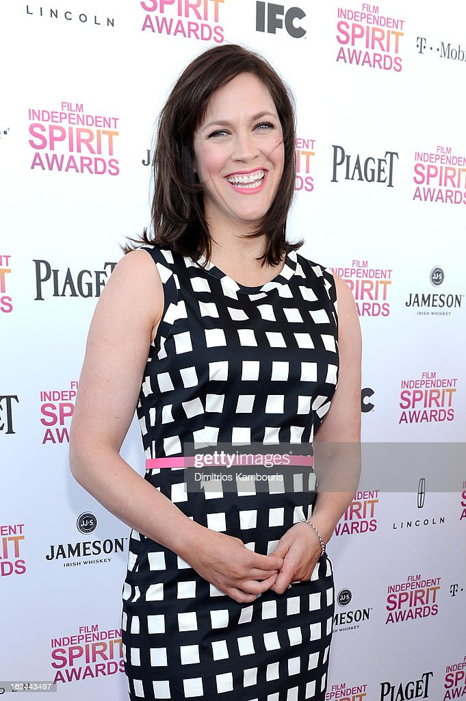 Director Maggie Carey arrives with Jameson prior to the 2013 Film Independent Spirit Awards at Santa Monica Beach on February 23, 2013 in Santa Monica, California.