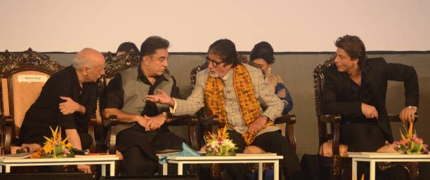 Director Mahesh Bhatt and Indian Actor Kamal Hasan Amitabh Bachchan and Shah Rukh Khan sharing moments during the inauguration ceremony of 23rd...
