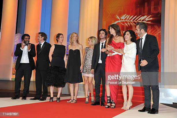 Director Maiwenn Le Besco and the cast and crew on stage after winning the Jury Prize Award for 'Polisse' attend the Closing Ceremony at the Palais...