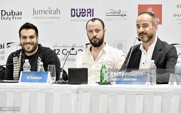 Director Majid Al Ansari actor Ali Suliman and producer Rami Yasin attend the 'Zinzana ' press conference during day two of the 12th annual Dubai...