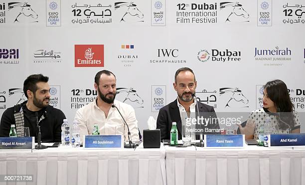 Director Majid Al Ansari actor Ali Suliman producer Rami Yasin and actress Ahd Kamel attend the 'Zinzana ' press conference during day two of the...