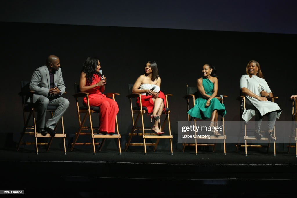 Director Malcolm D. Lee, actresses Tiffany Haddish, Regina Hall, Jada Pinkett Smith and Queen Latifah speak at the Universal Pictures' presentation during CinemaCon at The Colosseum at Caesars Palace at on March 29, 2017 in Las Vegas, United States.