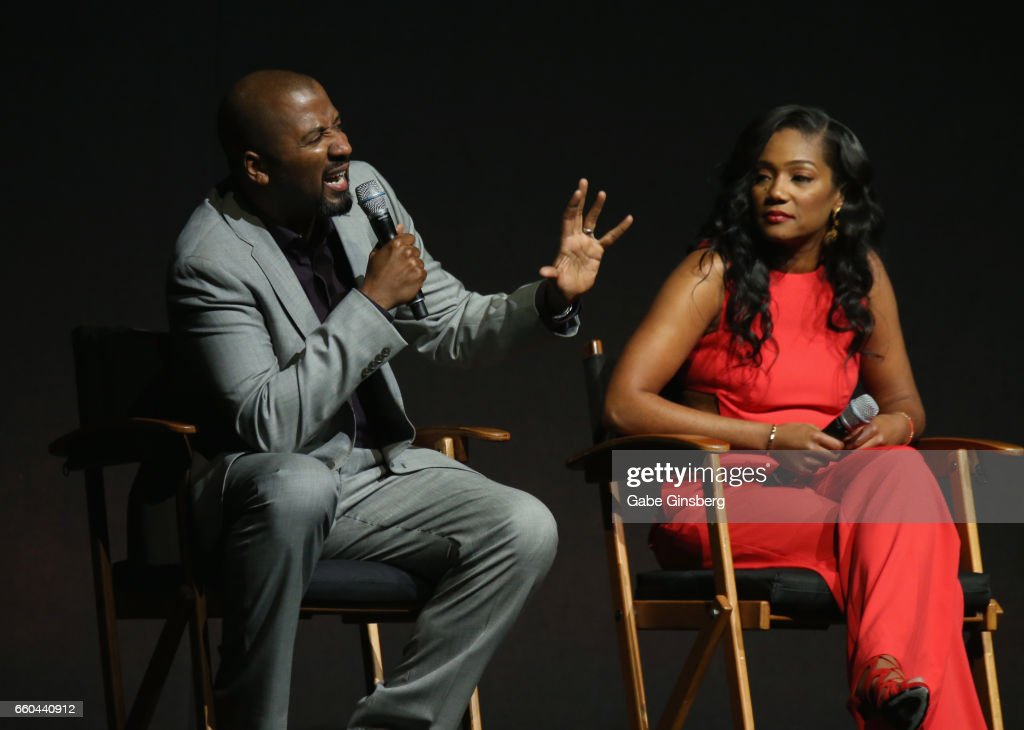 Director Malcolm D. Lee (L) and actress Tiffany Haddish speak at the Universal Pictures' presentation during CinemaCon at The Colosseum at Caesars Palace at on March 29, 2017 in Las Vegas, United States.