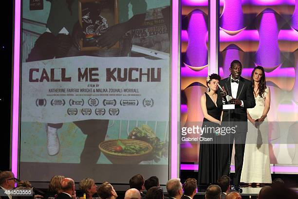 Director Malika ZouhaliWorrall actor John Long Jones Abdallah Wambere and filmmaker Katherine Fairfax Wright accept an award onstage during the 25th...