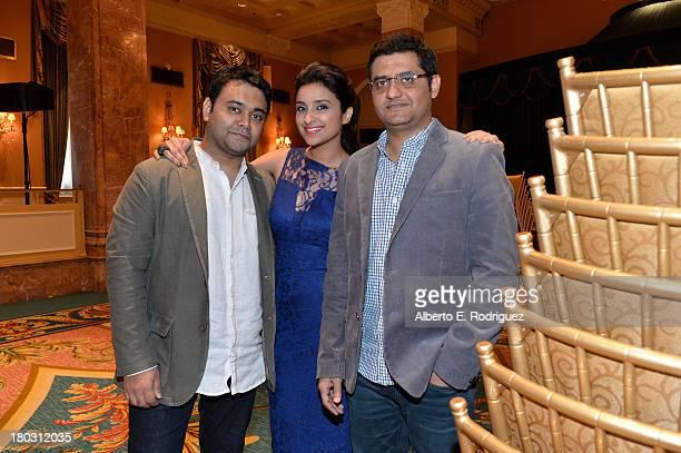 Director Maneesh Sharma actress Parineeti Chopra and writer Jaideep Sahni from the India's A Random Desi Romance cast prepare for the 2013 Toronto...