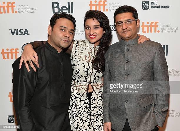 Director Maneesh Sharma actress Parineeti Chopra and Writer Jaideep Sahni arrive at A Random Desi Romance Premiere during the 2013 Toronto...