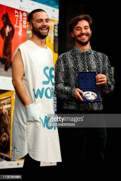 Director Manuel Abramovich and Bogdan Georgescu give a press conference after receiving the Silver Bear jury prize in the short film category for the...