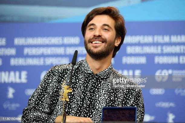 Director Manuel Abramovich winner of the Silver Bear Jury Prize for 'Blue Boy' is seen at the press conference after the closing ceremony of the 69th...