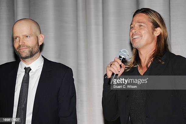 Director Marc Forster and Brad Pitt speak the World Premiere of 'World War Z' at The Empire Cinema on June 2, 2013 in London, England.