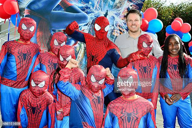 Director Marc Webb and kids from the Anderson Munger Family YMCA attend Larchmont Charter School celebrates 'The Amazing SpiderMan 2' at Be Amazing...