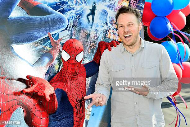 Director Marc Webb attends Larchmont Charter School celebrates 'The Amazing SpiderMan 2' at Be Amazing Day at Larchmont Charter School at Fairfax on...