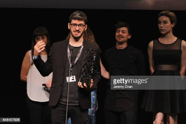 Director MarcAntoine Lemire speaks on stage after being awarded with The IWC Short Cuts Award for Best Canadian Short for 'PreDrink' at the 2017 TIFF...