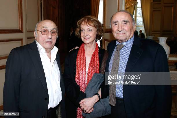 Director Marcel Bluwal his wife Daniele Lebrun and Claude Brasseur attend Claude Brasseur is elevated to the rank of Officier de la Legion d'Honneur...