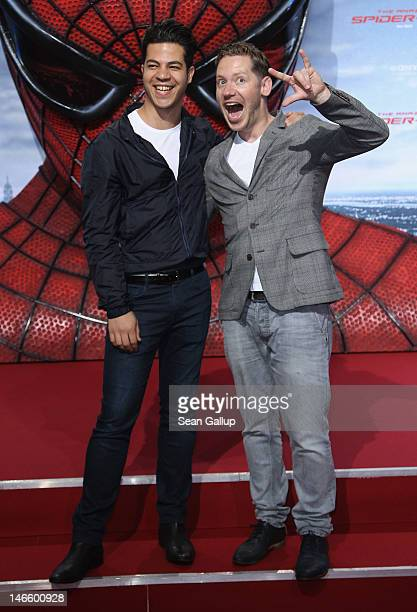 Director Marco Kreuzpaintner and his husband Gilardi attend the Germany premiere of 'The Amazing SpiderMan' at Sony Center on June 20 2012 in Berlin...