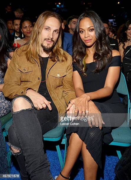 Director Marco Perego and actress Zoe Saldana attend the 16th Latin GRAMMY Awards at the MGM Grand Garden Arena on November 19 2015 in Las Vegas...