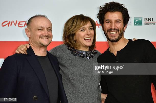 Director Marco Simon Puccioni actors Valeria Golino and Francesco Scianna attend the 'Come Il Vento Photocall' Photocall during the 8th Rome Film...