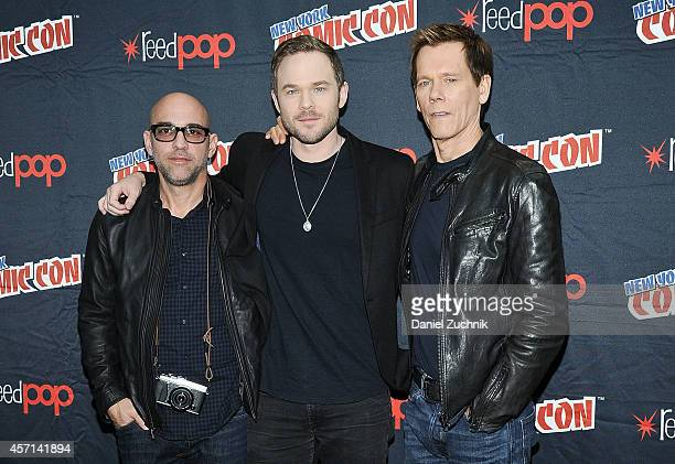 Director Marcos Siega with actors Shawn Ashmore and Kevin Bacon attend Fox Network's 'The Following' press room at 2014 New York Comic Con Day 4 at...