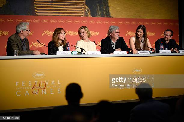 "Director Maren Ade, actors Sandra Hueller and Peter Simonischek and procuder Janine Jackowski attend the ""Toni Erdmann"" press conference during the..."