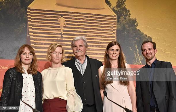 "Director Maren Ade, actors Sandra Hueller and Peter Simonischek, producers Janine Jackowski and Jonas Dornbach attend the ""Toni Erdmann"" press..."