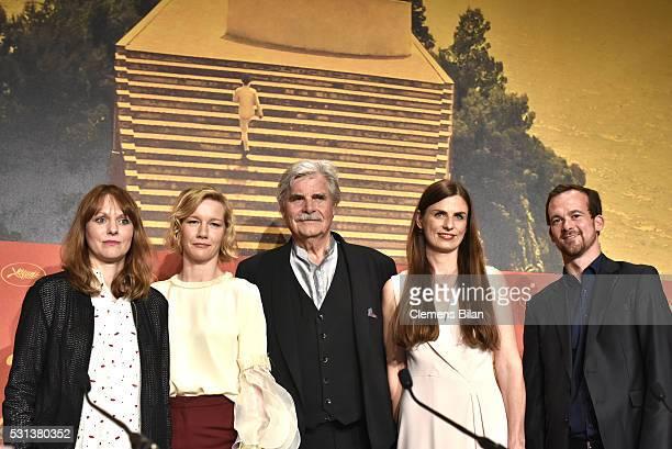 "Director Maren Ade, actors Sandra Hueller and Peter Simonischek and producer Janine Jackowski and guest attend the ""Toni Erdmann"" press conference..."