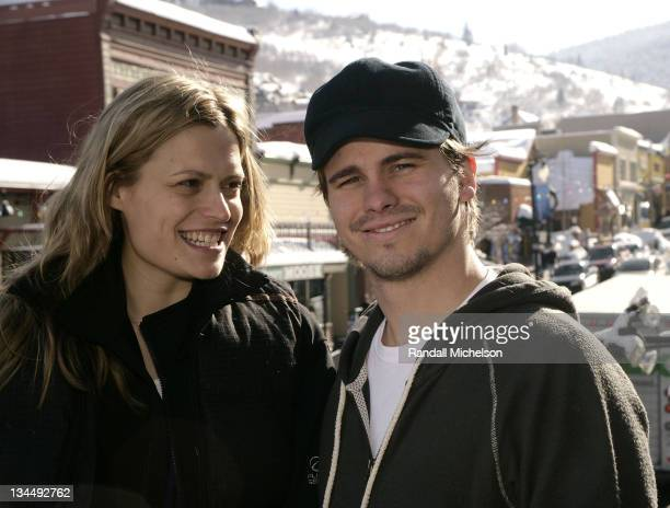 Director Marianna Palka and actor Jason Ritter of 'Good Dick' pose at the Sky 360 Delta Lounge during 2008 Sundance Film Festival on January 22 2008...