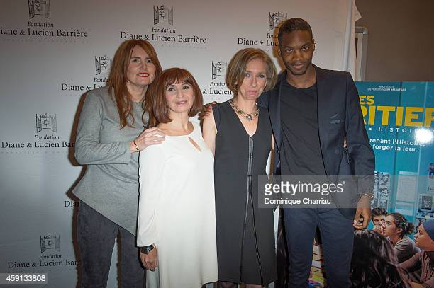 Director MarieCastille MentionSchaar Ariane Ascaride Anne Angles and Ahmed Drame attend 'Les Heritiers' Premiere Hosted by Fondation Diane Lucien...