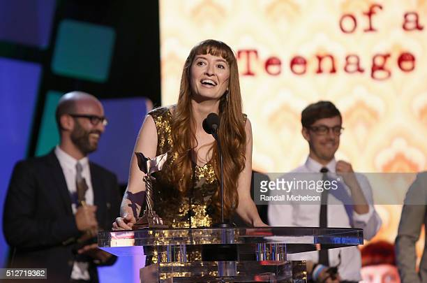 Director Marielle Heller accepts the award for Best First Feature for 'The Diary of a Teenage Girl' with cast onstage during the 2016 Film...