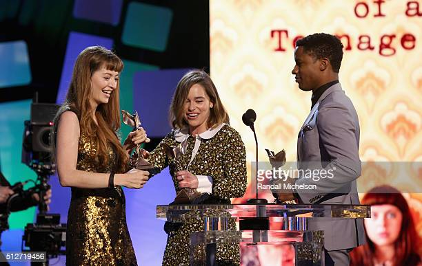 Director Marielle Heller accepts the award for Best First Feature for 'The Diary of a Teenage Girl' from actors Emilia Clarke and Nate Parker onstage...
