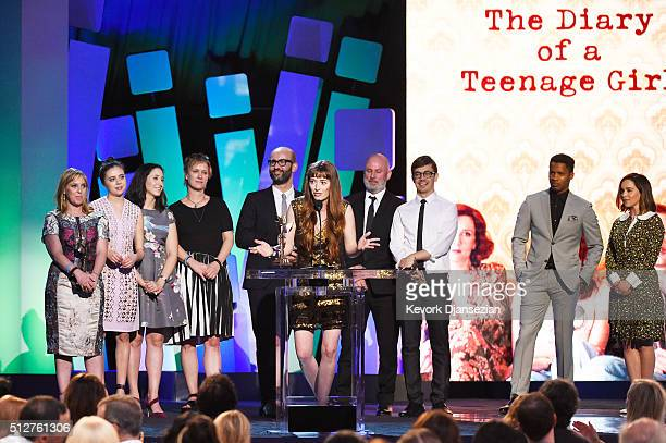 Director Marielle Heller accepts the Best First Feature award for 'The Diary of a Teenage Girl' with cast and crew and actors Emilia Clarke and Nate...
