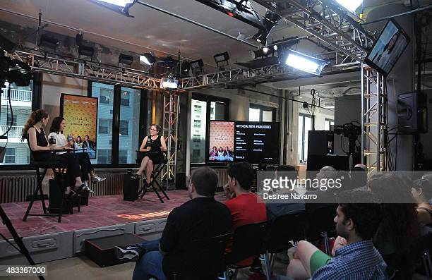 Director Marielle Heller and actress Bel Powley speak with moderator Missy Schwartz during AOL BUILD Speaker Series Presents 'The Diary Of A Teenage...