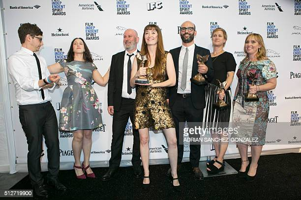 Director Marielle Heller poses with her award for best first feature for 'Diary of a Teenage Girl' at the 2016 Independent Spirit Awards on Saturday...