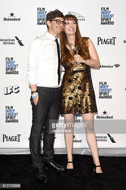Director Marielle Heller winner of the Best First Feature award for 'Diary of a Teenage Girl' poses with executive producer/actor Jorma Taccone in...
