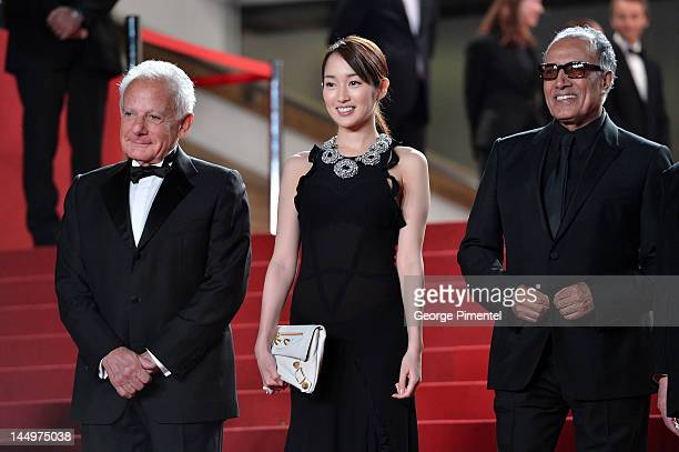 Director Marin Karmitz actress Rin Takanashi and Iranian director Abbas Kiarostami attend the 'Like Someone In Love' Premiere during the 65th Annual...