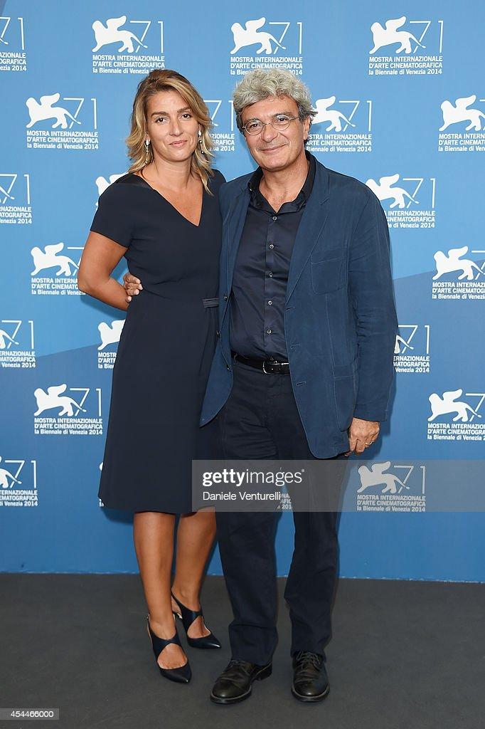 Director Mario Martone and screenwriter Ippolita di Majo attends 'Il Giovane Favoloso' Photocall during the 71st Venice Film Festival at Palazzo Del Casino on September 1, 2014 in Venice, Italy.