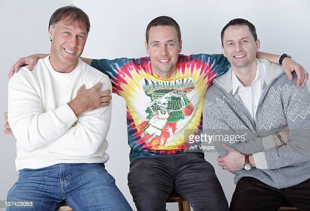 Director Marius Markevicius with retired Lithuanian professional basketball players Sarunas Marciulionis and Arturas Karnisovas pose for a portrait...