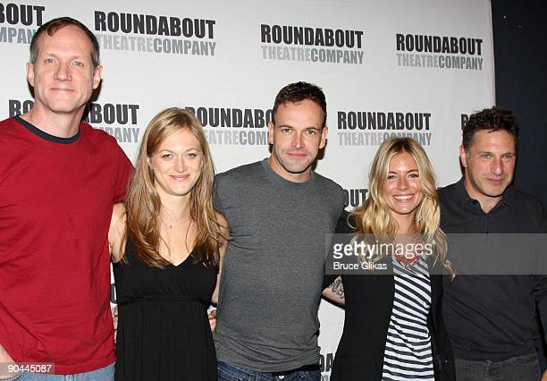 Director Mark Brokaw Marin Ireland Jonny Lee Miller Sienna Miller and playwright Patrick Marber attend the 'After Miss Julie' Broadway cast photo...