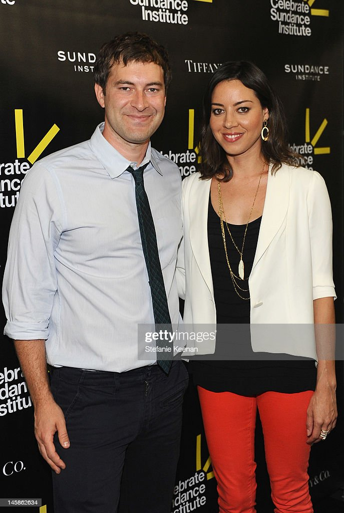 Director Mark Duplass and Aubrey Plaza arrive at the Sundance Institute Benefit presented by Tiffany & Co. in Los Angeles held at Soho House on June 6, 2012 in West Hollywood, California.