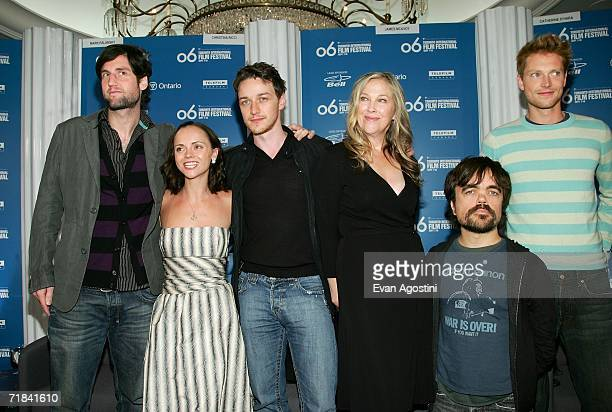 Director Mark Palansky actors Christina Ricci James McAvoy Catherine O'Hara Peter Dinklage and Simon Woods attend the 'Penelope' press conference...