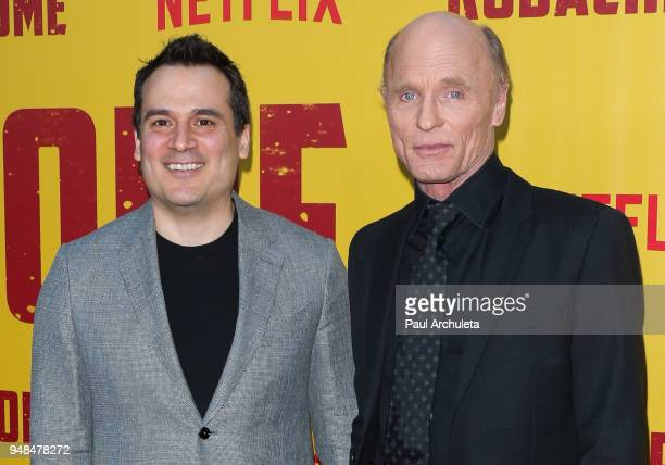 Director Mark Raso and Actor Ed Harris attend the premiere of Netflix's Kodachrome at ArcLight Cinemas on April 18 2018 in Hollywood California