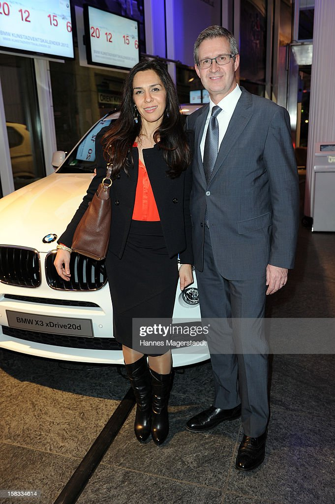 Director Marketing Germany Johannes Seibert and his wife Susan Seibert attend the BMW Adventskalender opening with Hannes Jaenicke at the BMW Pavillion on December 13, 2012 in Munich, Germany.