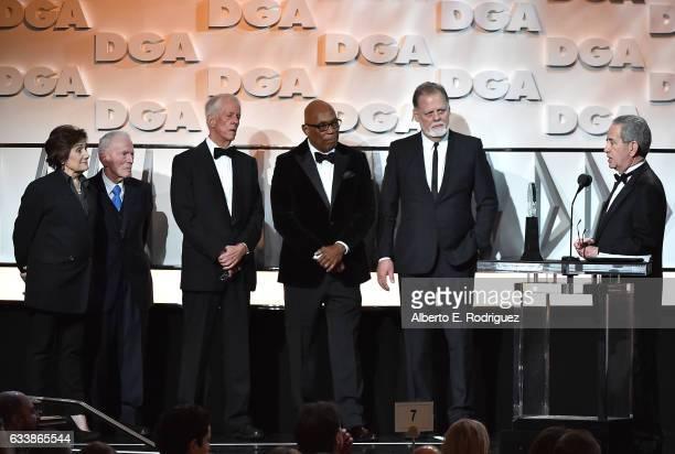 Director Martha Coolidge actor Gene Reynolds DGA SecretaryTreasurer Michael Apted DGA President Paris Barclay and director Taylor Hackford present...